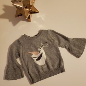 DISNEY BABY GAP Olaf bell sleeve sweater.12 to 18m